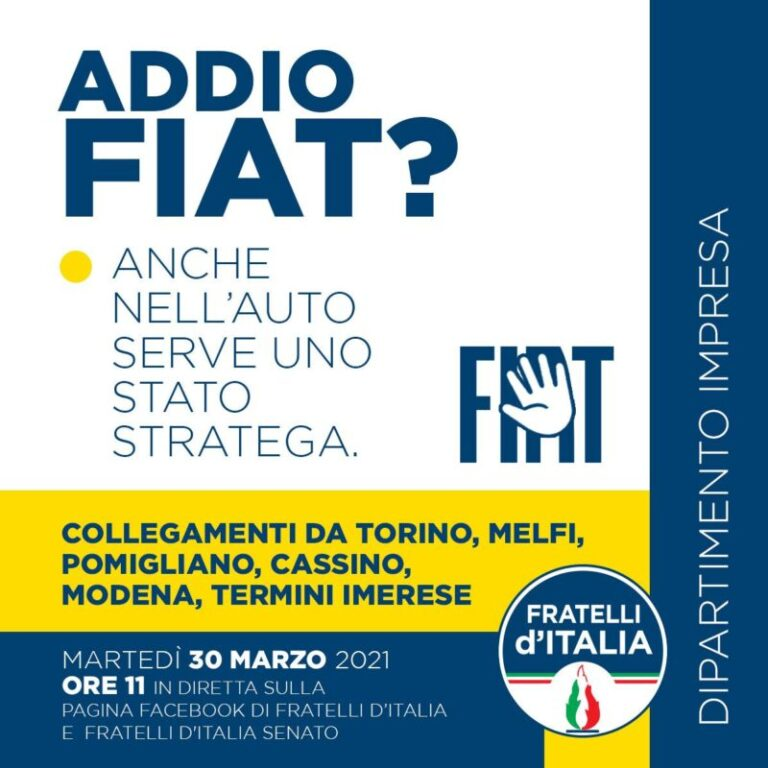 Addio a Fiat? Martedì meeting sul futuro dell'auto in Italia