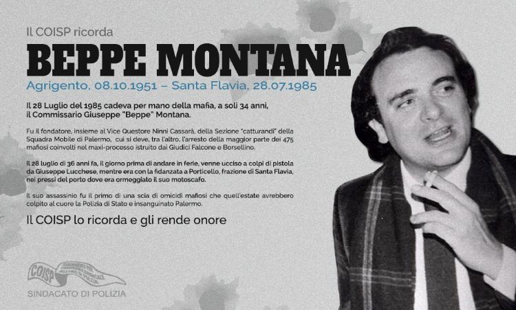 """Il COISP ricorda l'omicidio per mano della mafia del Commissario Giuseppe """"Beppe"""" Montana"""