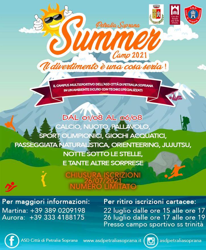 Summer camp  a Petralia Soprana dal 1 al 6 agosto