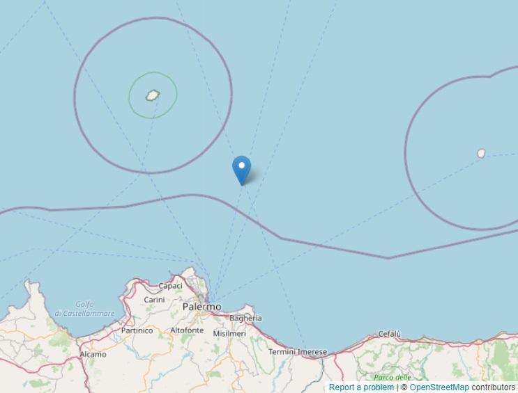 Provincia di Palermo: registrato sisma di magnitudo 2.6 con epicentro in mare